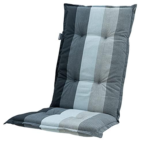 Madison 8 cm Luxus Hochlehner Auflage C 404 Pete Grey, grau, anthrazit, schwarz gestreift, 120 x 50 x 8 cm
