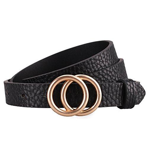 Earnda Women's Skinny Belt Fashion Round Buckle Leather Strap Black Medium