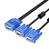 VGA SVGA HD Cable Male-to-Male Video Cable one-to-one Split Screen Supports 1080P Full HD, Suitable for projectors, HDTVs, Monitors and More Devices 5.9ft