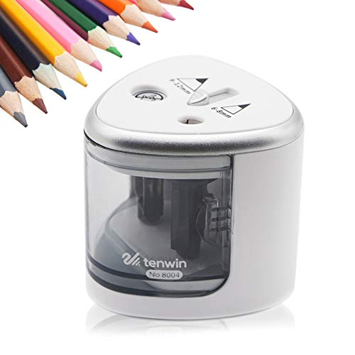 Sugelary Electric Pencil Sharpener Heavy Duty Double Hole Sharpener Electric Battery-Operated (No Charging Hole) Compact Kids Safety Ideal For NO.2 and Colored Pencils in Classroom, Office