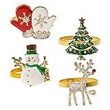 Cabilock 4 unidades de anillos para servilletas de Navidad, muñeco de...