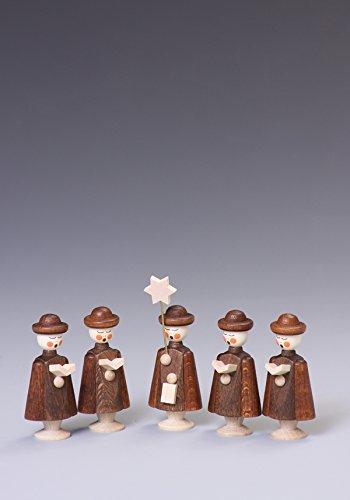 Rudolphs Schatzkiste Tischdeko Kurrendefiguren 5 Figuren Natur Höhe ca 5 cm NEU Kurrende Kirche Weihnachten singen Sänger Sternträger Seiffen Erzgebirge Gotteshaus