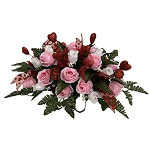 Red, Pink, White Roses Cemetery Flower Arrangement, Headstone Saddle, Grave, Tombstone Arrangement, Cemetery Flowers SV4095