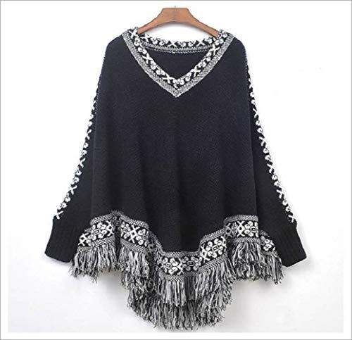 Pullover en pullover voor dames in de herfst en winter, met kwasten, truien, truien, gebreide trui Eén maat zwart.