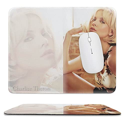 Charlize-Theron Mouse Pad with Non-Slip Rubber Base, Premium Mousepad with Stitched Edges, Celebrity Mouse Pads for Computers, Laptop, Gaming, Office & Home 9.8'×11.8'