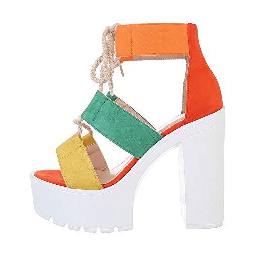 Ital-Design Damenschuhe Sandalen & Sandaletten High Heel Sandaletten, HD18107-, Kunstleder, Orange Multi, Gr. 38