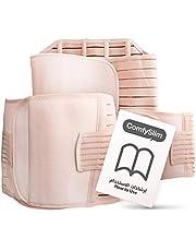 حزام دعم بعد الولادة 3 في 1 للنقاهة مرفق مع تعليمات، حزام خصر يلتف حول المعدة والحوض لشد الجسم بعد الولادة