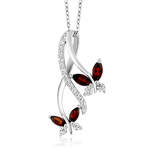 Gem Stone King 925 Sterling Silver Red Garnet Butterfly Infinity Pendant Necklace, 1.21 Ct Marquise Cut Gemstone Birthstone with 18 Inch Silver Chain