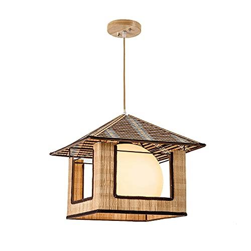 Luce tessuta in bambù Forma di piccola casa Lampadari creativi E27 Decorazione Lampada a sospensione Lampade a sospensione Luce di vimini con ombra per sala da pranzo Soggiorno in fattoria - 12,2 poll