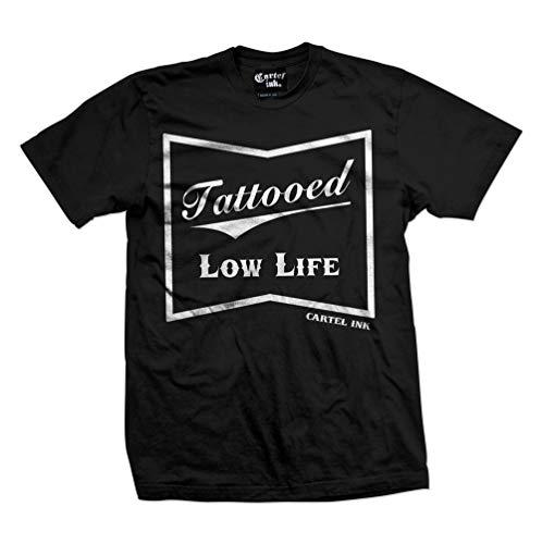 cartel ink Tattooed Low Life Men's T-Shirt (2XL) Black