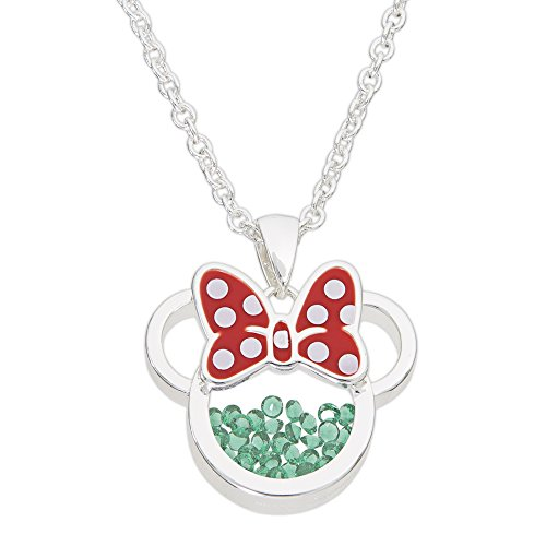 "Disney Birthstone Women's Jewelry Minnie Mouse Silver Plated May Emerald Green Cubic Zirconia Shaker Pendant Necklace, 18+2"" Extender"