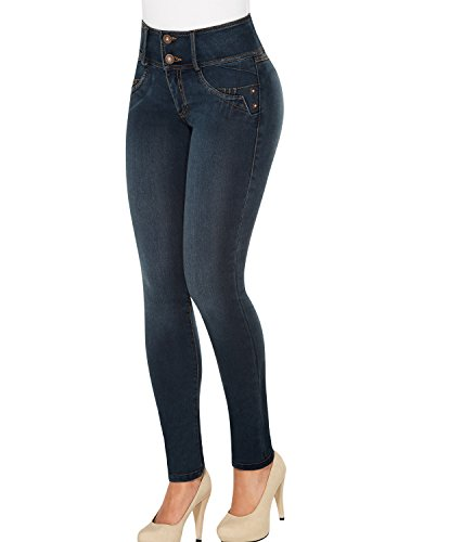 Equilibrium Pulce J8573 - Skinny Jean for Women - Mid-Rise Stretch Curvy Jean - Jean Colombiano Levanta Cola Blue