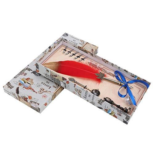 Suministros de oficina - Pluma estilográfica de pluma vintage de estilo europeo Pluma de caligrafía Pluma de inmersión Regalo de decoración del hogar(rojo)