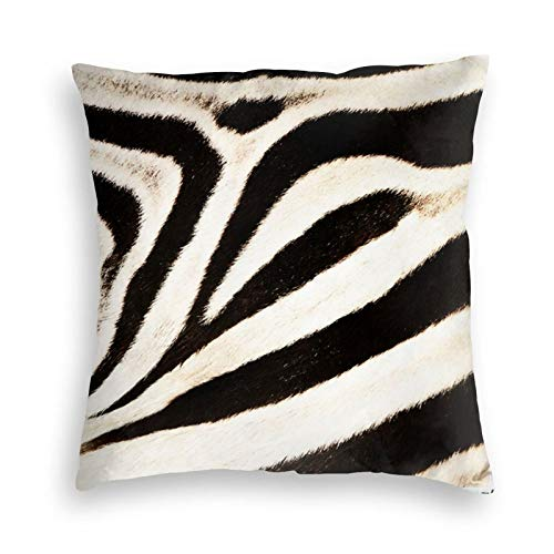 Cushion Covers Soft Velvet Square Decorative Pillow Covers Zebra Hide Faux Fur Wide Stripe Pillowcases for farmhouse Couch Sofa Bed car Office Kids indoor & outdoor 18 x 18 Inch