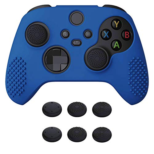 eXtremeRate PlayVital Blue 3D Studded Edition Anti-Slip Silicone Cover Skin for Xbox Series X Controller, Soft Rubber Case Protector for Xbox Series S Controller with 6 Black Thumb Grip Caps