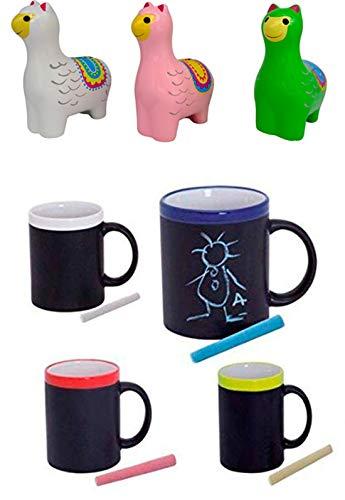 DISOK Lote de 30 Tazas Pizarra + 3 Huchas Llamas de Cerámica Ideales para Desayuno, en Caja de Regalo. Tazas Infantiles para Colorear
