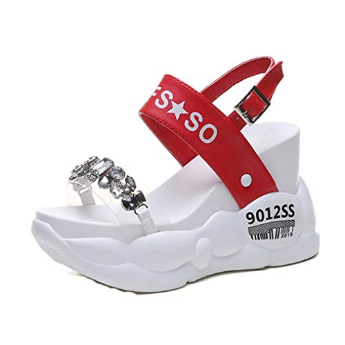Women Rhinestone Summer Gladiator Heel Sandals 10.5Cm High Platform Crystal Sneakers Thick Bottom Beach Slippers red 8.5