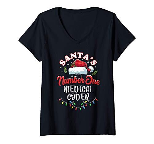 Mujer Codificador médico del regalo de Navidad de Santa Claus Camiseta Cuello V