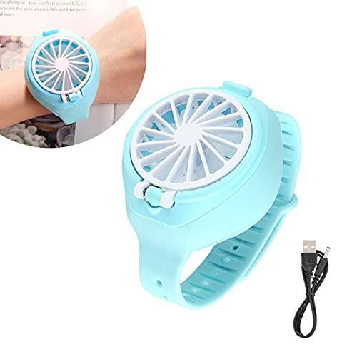 Mini ventilador para reloj, mini ventilador portátil para exteriores con cómoda correa para la muñeca, recargable mini ventilador eléctrico USB, para niños, oficina en casa, viajes al aire libre