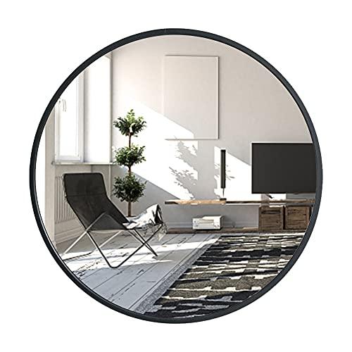 Huimei2Y 鏡 壁掛けミラー 丸型ミラー ウォールミラー アルミフレーム インテリア 洗面 化粧 軽量 HD鏡面 モダン おしゃれ 玄関 リビング 洗面 トイレ バスルーム 円形 (ブラック, 直径40cm)