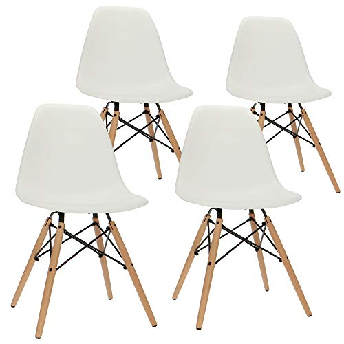 Popfurniture Designer Stuhl Weiß | robust & Leichter Aufbau | Ideal als Esszimmerstühle, Stühle Esszimmer, Esstisch Chair, Küchenstühle, Essstühle, Esszimmerstuhl, Schalenstuhl, Küchenstuhl