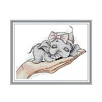 クロスステッチ クロスステッチ、かわいい動物の手刺繍寝室の装飾 (Size : 14CT printing21×17CM)