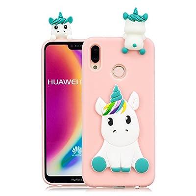 HopMore Funda para Huawei P20 Lite Silicona Dibujos Panda Unicornio Divertidas TPU Gel Kawaii Ultrafina Slim Case Antigolpes Caso Protección Flexible Cover Design Gracioso - Rosa Unicornio