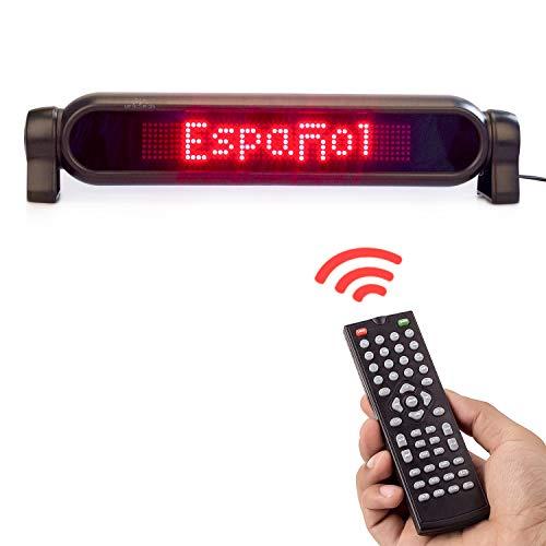 Leadleds 12-V-Auto-Nachrichtentafel mit LEDs, zum Scrollen, mit Fernbedienung programmierbar, 7 x 50 Pixel, rot, 41.9 x 6.4 x 8.9 cm