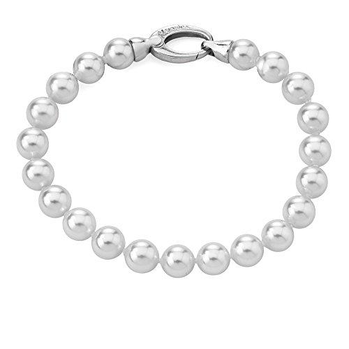 Majorica Brazalete Clásico con perlas blancas y plata