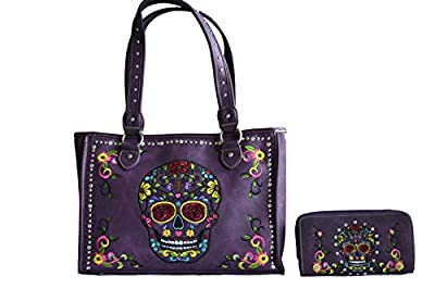 sugar skull day of the dead embroidery gun concealed carry handbag purse set