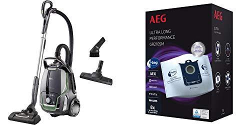 AEG VX9-2-ÖKO Staubsauger mit Beutel + GR210SM Staubbeutel (70% Recyclingmaterial, Zusatzdüsen, 850 Watt, 65 dB(A), 5l Beutelvolumen, waschbarer Filter, 8 Staubbeutel, 1 Motorfilter, 1 Mikrofilter)