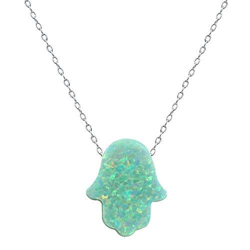 ZeSen Jewelry Feuer-Opal Hamsa Hand Opal Anhänger Multi Farbe Opal Halskette 925 Sterlingsilber-Halskette (2) Grün