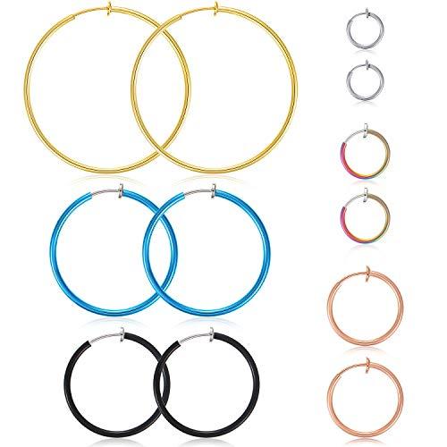 6 Pairs Hoop Clip On Earrings No Piercing Hoop Earrings Multi-size Fake Earring Hoops Colorful Non-pierced Nose Ring Ear Clip Rings