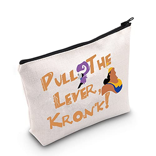 LEVLO The Emperors New Groove Cosmetic Make Up Bag Kronk and Yzma Fans Gift Pull The Lever Kronk Makeup Zipper Pouch Bag For Friend Family (Pull The Lever)