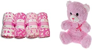 Plush Breast Cancer Pink Ribbon Throw Blanket and Pink Teddy Bear (Bonus BCA Surprise) Color and Design Variation Bundle of 2