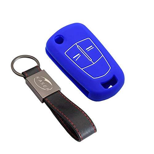 kaser Funda Silicona para Llave Opel – Carcasa Llaveros 2/3 Botones para Coche Vectra Astra Tigra Corsa Zafira Cover Case Protección Remoto Mando Auto (Azul)