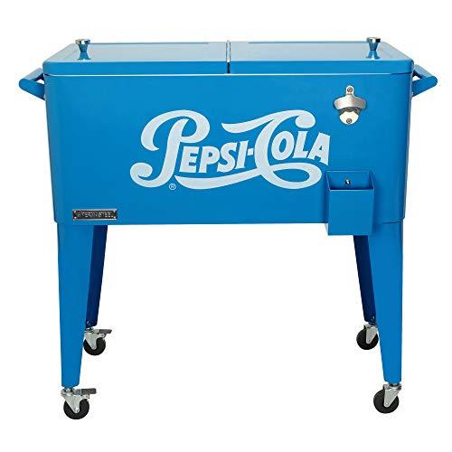 Permasteel PS-203-PEPSI-AM 80 qt. Vintage Pepsi-Cola Portable Rolling Patio Cooler, Blue