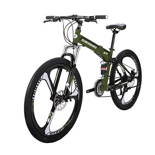 LZBIKE BICYCE G4 26 Mountain Bike Floding Bike 21 Speed Shift Left 3 Right 7 Frame Shock Absorption Mountain Bicycle Army Green