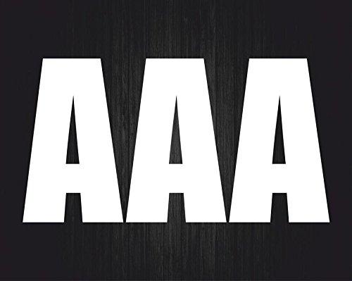 Akachafactory Sticker, zelfklevend, voor deur, auto, motorfiets, alfabet, brievenbus en naam, wit, 3 stuks