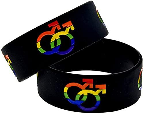 ZFAYFMA Pulseras lesbianas y gay, colgantes gay, joyas del orgullo del arco iris, desfile gay, lesbiana, bisexual, celebrando el matrimonio, joyería gay bisexual de la bandera del arco iris negro