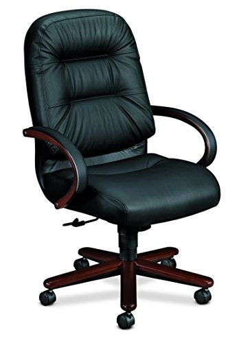 HON Pillow-Soft Leather Executive High-Back Chair - Wood Series Office Chair with Arms, Mahogany/Black Leather (H2191)