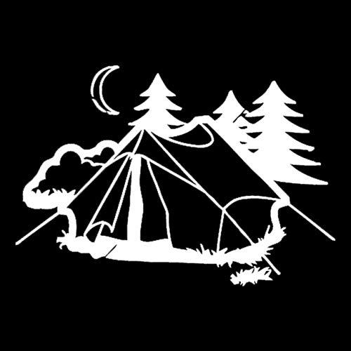 kgfjhd 17,9 CM * 12,2 CM Carpa Camping Naturaleza DescansoModa Accesorios de Coche Pegatinas Negro/PlataC31-0302, Plata