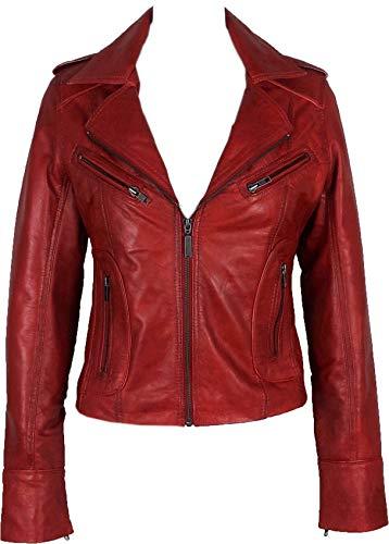 UNICORN Mujeres Genuino real cuero chaqueta Rojo encerado #Z3