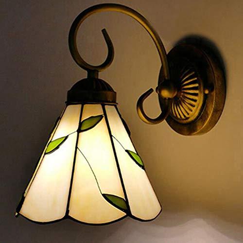 Wandleuchte, Einfache Barock Wandlampe, Tiffany-Art-Außenlampe, Jahrgang Willow Farbe Glasspiegel-Scheinwerfer Kerzen-Wandleuchten,D