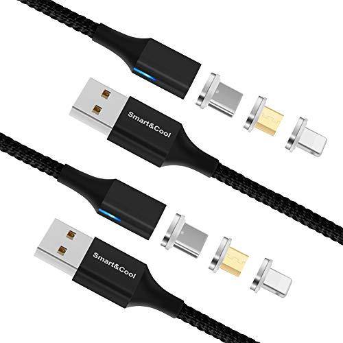 Smart&Cool Gen-X 1,5 m Nylon geflochtenes 3-in-1 magnetisches Schnelllade- und Datenkabel, kompatibel mit USB-C-Geräten, Micro-USB-Geräten und i-Produkt (2er-Pack, schwarz)