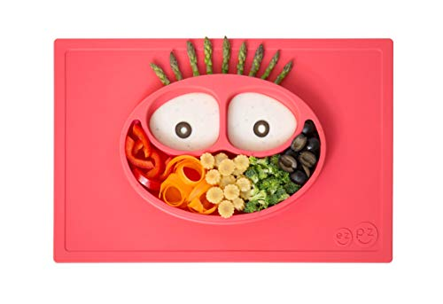 ezpz Happy Mat (Coral) - 100% Silicone Suction Plate with Built-in Placemat for Toddlers +...