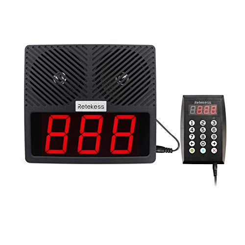 Retekess TD101 Queue Wireless Calling System,Take A Number System,Loud Speakers,3-Digit Display,Voice Broadcast for Hospital,Business,Restaurant,Bank