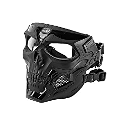 cheap Black killer whale skull full face mask for airsoft helmet (black)