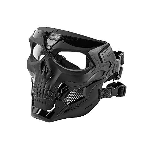 Black Orca Skull Full-Face Mask for Airsoft Helmet (Black)