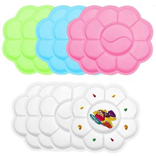 YUIP 10 piezas de paleta de colores mezclados, paleta de plástico en forma de ciruela, paleta de gouache, paleta de plástico, paleta de pintura de 11,6 cm x 11,6 cm
